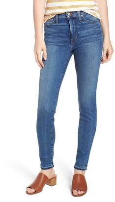 Caslon Sierra High Waist Release Hem Skinny Jeans (Pacific) (Regular & Petite)