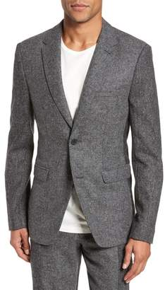French Connection Regular Fit Patchwork Wool Blazer