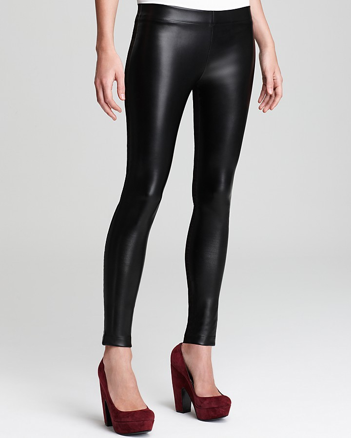 DKNYC Leggings with Faux Leather Front