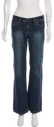 Michael Kors Distressed Low-Rise Wide-Leg Jeans