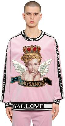 Dolce & Gabbana Angel Embroidered Velvet Sweatshirt