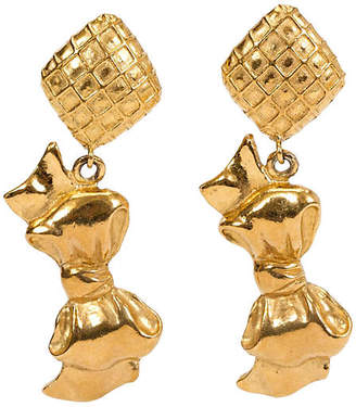 One Kings Lane Vintage 1970s Chanel Dangling Bow Earrings - Vintage Lux