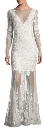 Elie Tahari Larsa Floral Lace Illusion V-Neck Dress