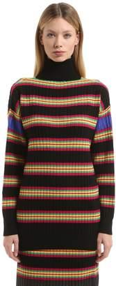 Marco De Vincenzo Oversize Striped Wool Turtleneck Sweater