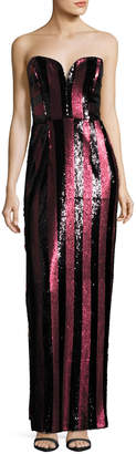 Milly Carly Strapless Striped Sequin Column Gown, Red/Black