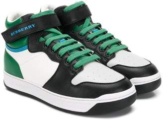 Burberry colour block hi-top sneakers