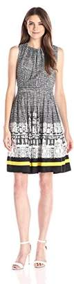 Ellen Tracy Women's Sleeveless City Scape Print Fit-and-Flare Dress