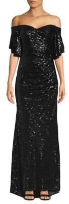 Badgley Mischka Sequin Off-The-Shoulder Gown