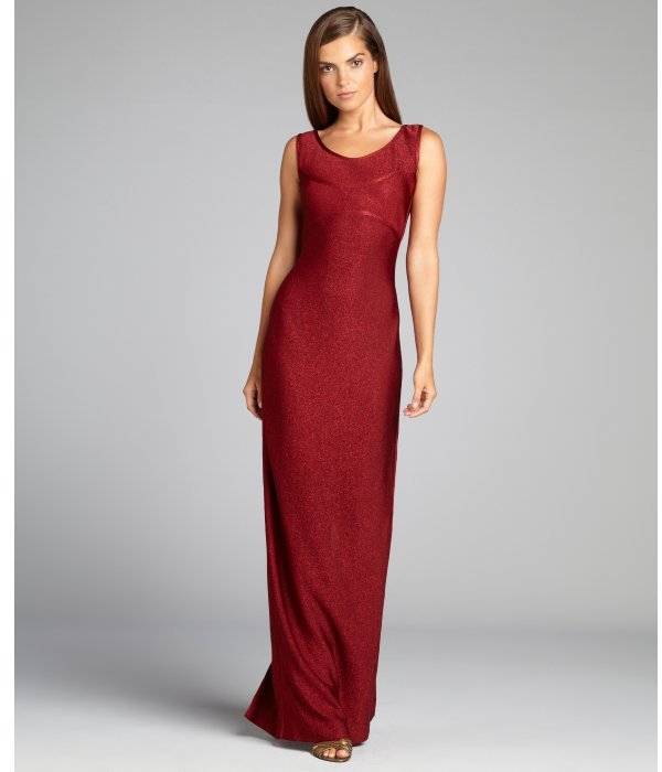 Carmen Marc Valvo massai metallic knit sleeveless floor-length gown