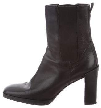 Gucci Square-Toe Leather Ankle Boots