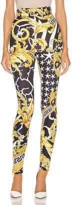 Versace Print Legging in Black & Yellow   FWRD