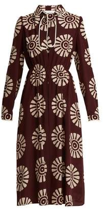 Valentino Medallion Print Silk Dress - Womens - Burgundy Print