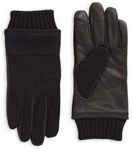 Tommy Hilfiger Leather Knit Flannel Gloves