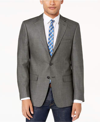 Calvin Klein Closeout! Men's Slim-Fit Gray/Black Neat Textured Silk and Wool Sport Coat