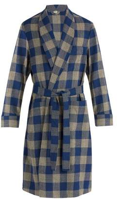 Gucci - Woven Check Wool Blend Coat - Mens - Blue