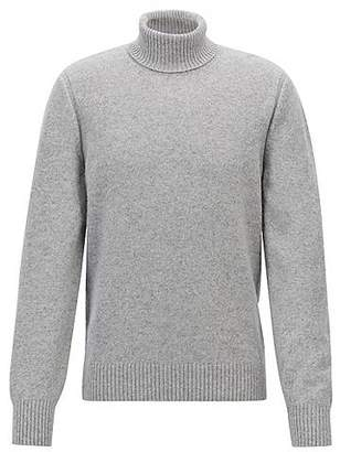 HUGO BOSS Tailored turtleneck sweater in a single-jersey wool blend