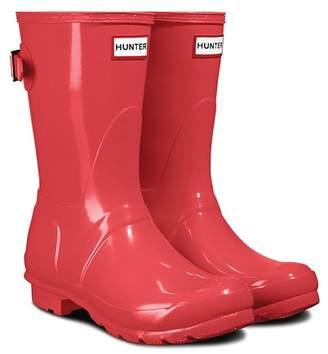 Hunter Short Adjustable Back Strap Glossy Rain Boot