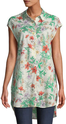 Joan Vass Floral Woven Short-Sleeve Tunic