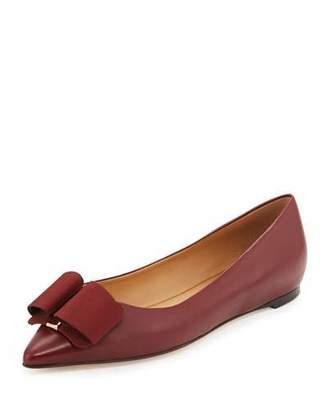 Salvatore Ferragamo Mimi Bow Leather Ballerina Flat, Opera $550 thestylecure.com