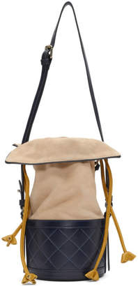 Carven Navy and Beige Sully Bucket Bag