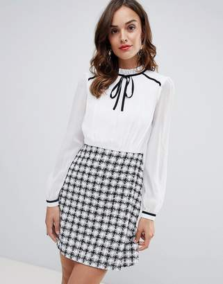 Paper Dolls 2 in 1 dress with knitted skater skirt detail in monochrome