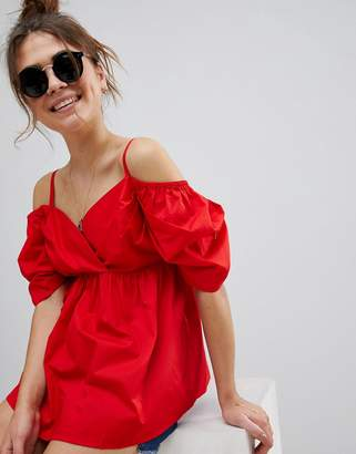 Asos DESIGN Off Shoulder Cotton Top with Sweetheart Neck