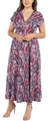24/7 Comfort Apparel 24Seven Comfort Apparel Constance Multicolor Paisley Empire Waist Plus Size Maxi Dress