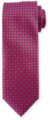 Canali Boxed Floral Silk Tie, Red
