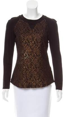 Prabal Gurung Brocade Long Sleeve Top