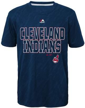 Majestic Boys 8-20 Cleveland Indians Geo Fuse Sublimated Cool Base Tee