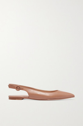 Gianvito Rossi Leather Slingback Point-toe Flats - Neutral