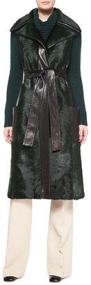 Derek Lam Sleeveless Calf Fur Leather-Trim Coat, Teal $5,790 thestylecure.com