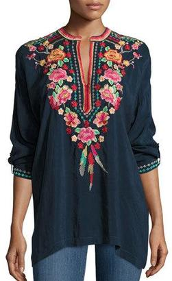 Johnny Was Blossom Tab-Sleeve Embroidered Blouse $245 thestylecure.com