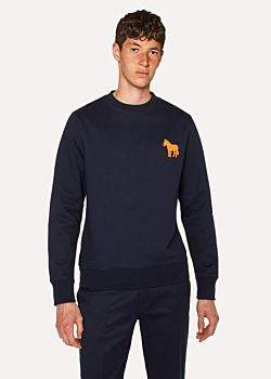 Paul Smith Men's Navy Organic-Cotton Embroidered Zebra Sweatshirt