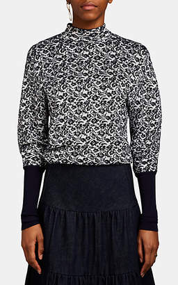 Chloé Women's Abstract-Pattern Jacquard-Knit Turtleneck Sweater - White Pat.