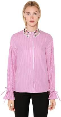 Lurex Lace Collar Striped Poplin Shirt