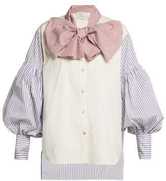 Hillier Bartley - New Romantic Pinstripe Cotton Shirt - Womens - Blue Multi