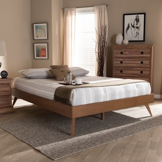 Baxton Studio Lissette Mid-Century Modern Walnut Brown Finished Wood King Size Platform Bed Frame