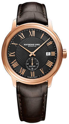 Raymond Weil Analog Maestro Rose Gold PVD Leather Watch