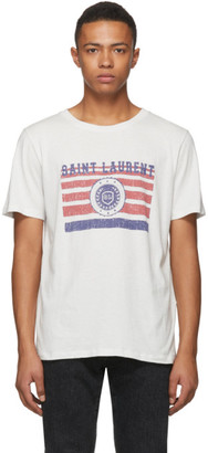 Saint Laurent White Flag Logo T-Shirt