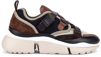Chloé Sonnie Leather Velcro Strap Sneakers