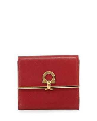 Salvatore Ferragamo Icona French Wallet, Rosso $525 thestylecure.com