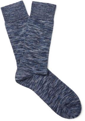 Oliver Spencer Loungewear - Miller Mélange Stretch Cotton-Blend Socks