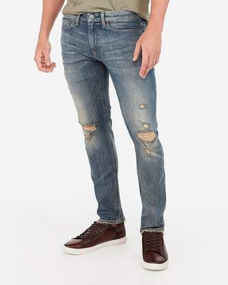 Express Slim Medium Wash Ripped Stretch+ Jeans