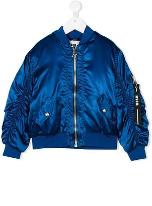 MSGM Kids shiny bomber jacket