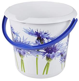 Keeeper Cornflower Deco Bucket, White, 10 Litre