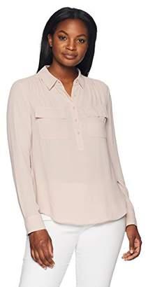 Lark & Ro Women's Long Sleeve Sheer Utility Blouse