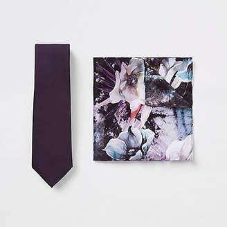 River Island Purple satin tie and floral handkerchief set