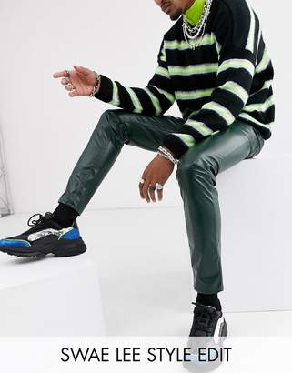Asos Design DESIGN skinny coated leather look jeans in green