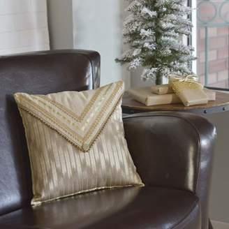 Ashton & Willow Bronze Tan Seasonal Decor Celebrate Polyester Appliqued Beaded Trim Chambray Modern Square Pillow (Pillow Cover, Pillow Insert)